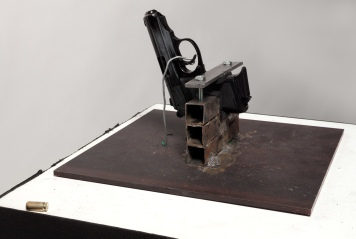 R. Luke Dubois, Take A Bullet for This City, 2014 Walther PPK 9mm, steel plate, mechanism, minicomputer 24.5 x 24 x 24 inches