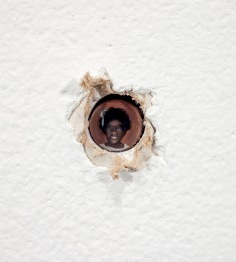 Adam Mysock, The Last Six, Under Six, Murdered by a Gun in the Sixth (detail), 2014acrylic on copper, mounted in wall, 14 x 39 inches