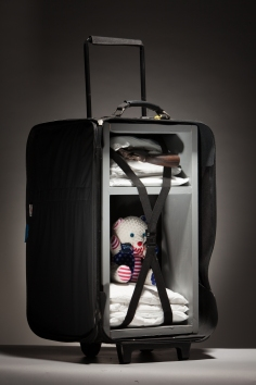 Luis Cruz Azaceta, Carry On, Drugs, Gun, and Teddy, 2014 mixed media with suitcase, 39 x 22 x 15 inches