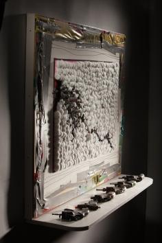 Luis Cruz Azaceta, Shot (detail), 2014, cotton, nails, duct tape, and shelf with 6 guns, 37 x 48 x 11.5 inches