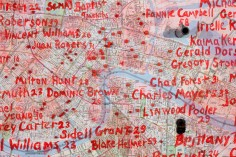 Ron Bechet, Why? (Is it Easier to Get a Gun than an Education, A Gun Instead of Help?) (detail), 2014 map, gun parts, paint on wood panel, 28 x 38 x 5 inches