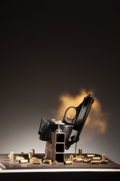 Take A Bullet for This City, 2014 Walther PPK 9mm, steel plate, mechanism, minicomputer 24.5 x 24 x 24 inches