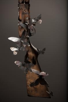 Paul Villinski, Epitaph, 2014 handgun, aluminum (found can), soot, steel 11.75 x 6 x 4.5 inches