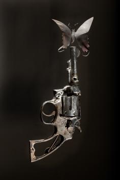 Paul Villinski, Mourn, 2014 handgun, aluminum (found can), soot, steel 11.75 x 6 x 4.5 inches
